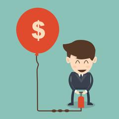 Higher rates concept  - businessman pumping air in dollar ballo