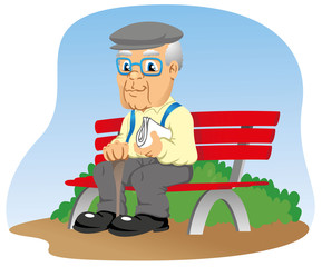 Elderly sitting on the park bench