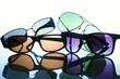 Leinwanddruck Bild - Different types of sunglasses