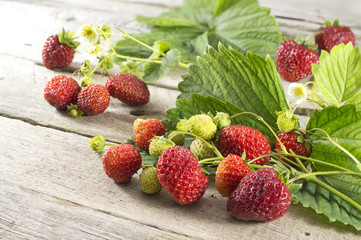 Ripe strawberries with leaves on the table