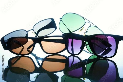 Leinwanddruck Bild Different types of sunglasses