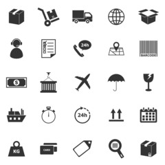 Logistics icons on white background