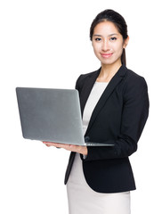 Business woman hold with laptop computer