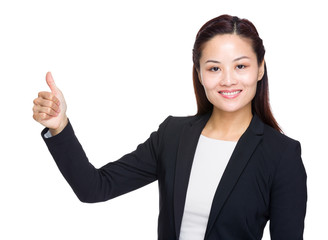 Business woman thumb up
