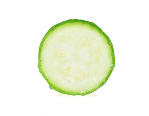 Zucchini. Sliced green courgette on white background