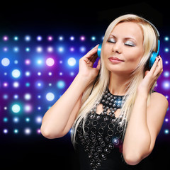 Young DJ Woman with Headphones