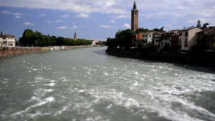 Timelapse over Adige River in Verona, Italy