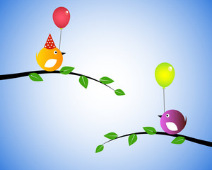Two birds and balloons
