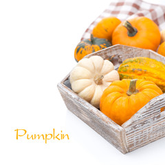 Pumpkins in wooden tray, isolated on white