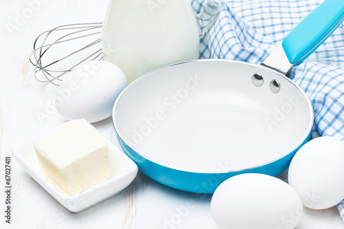 products and tools for baking pancakes, close-up