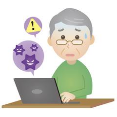 PCウイルスに困る老人