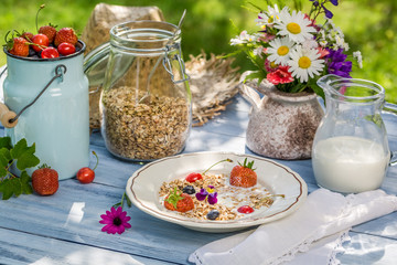 Summer breakfast in the garden