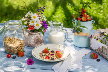 Healthy breakfast with fruit and milk