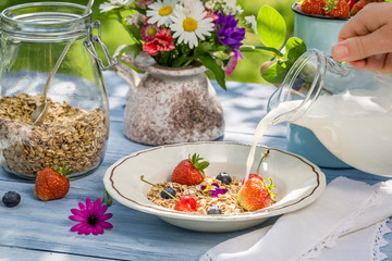 Oatmeal with fruit and milk