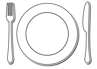 icon of plate, fork and knife