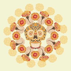 Mexican skull with merigold pattern