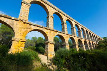 Wide angle shot of Ponte del Diable in Tarragona