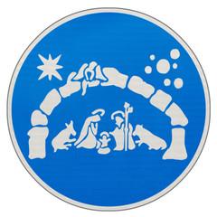 crèche de Noël sur panneau bleu