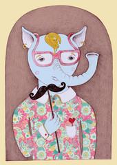 unusual original pencil drawing of hipster fantastic animal port