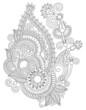 original digital draw line art ornate flower design