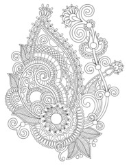 original digital draw line art ornate flower design