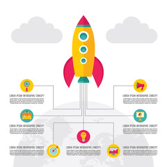 Start-Up Creative Illustration - Vector Rocket Concept