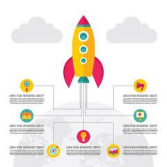 Start-Up Creative Illustration - Vector Rocket Concept