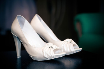 White leather bride shoes