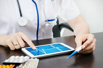 Doctor reads the chart on digital tablet