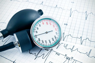 Sphygmomanometer on medical background