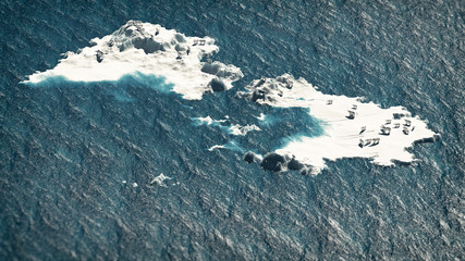 Polar bears on melting ice rocks in ocean. Aerial composition. G