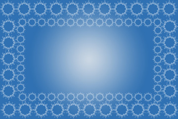 pattern of circles in blue background, frame, border