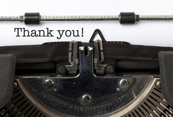 Thank You, written on vintage typewriter