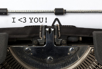 I love you, written on vintage typewriter