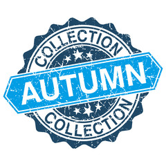 Autumn collection grungy stamp isolated on white background