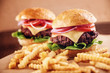 Ground beef Cheese Burger with French Fries