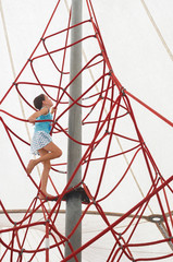 brave Little girl climbing