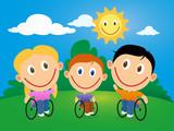 Fototapety Wheelchair children