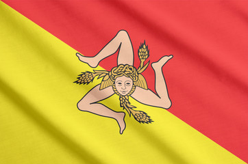Flag of Sicily waving
