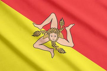 Flag of Sicily waving