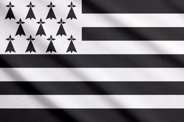 Waving flag of Brittany, France