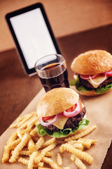 Ground beef Cheese Burger with French Fries and Cola