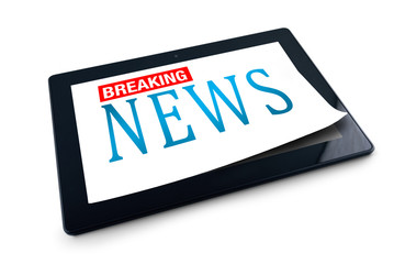 Tablet PC on white background with Breaking News title