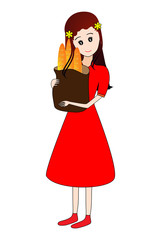 Girl holding a grocery bag