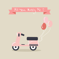 Pink Vintage scooter with balloons for proposal of marriage.