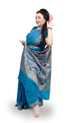 Woman dancing in blue sari
