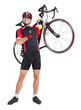 cheerful cyclist with winning gesture carry a bike