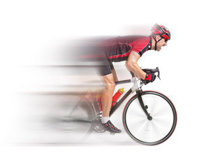 cyclist sprints on a bike