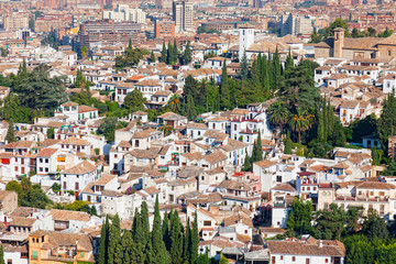 top view on residential quarters of Granada, Spain