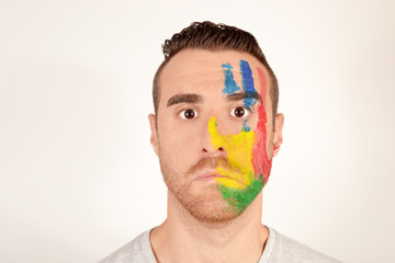 Man with painted face